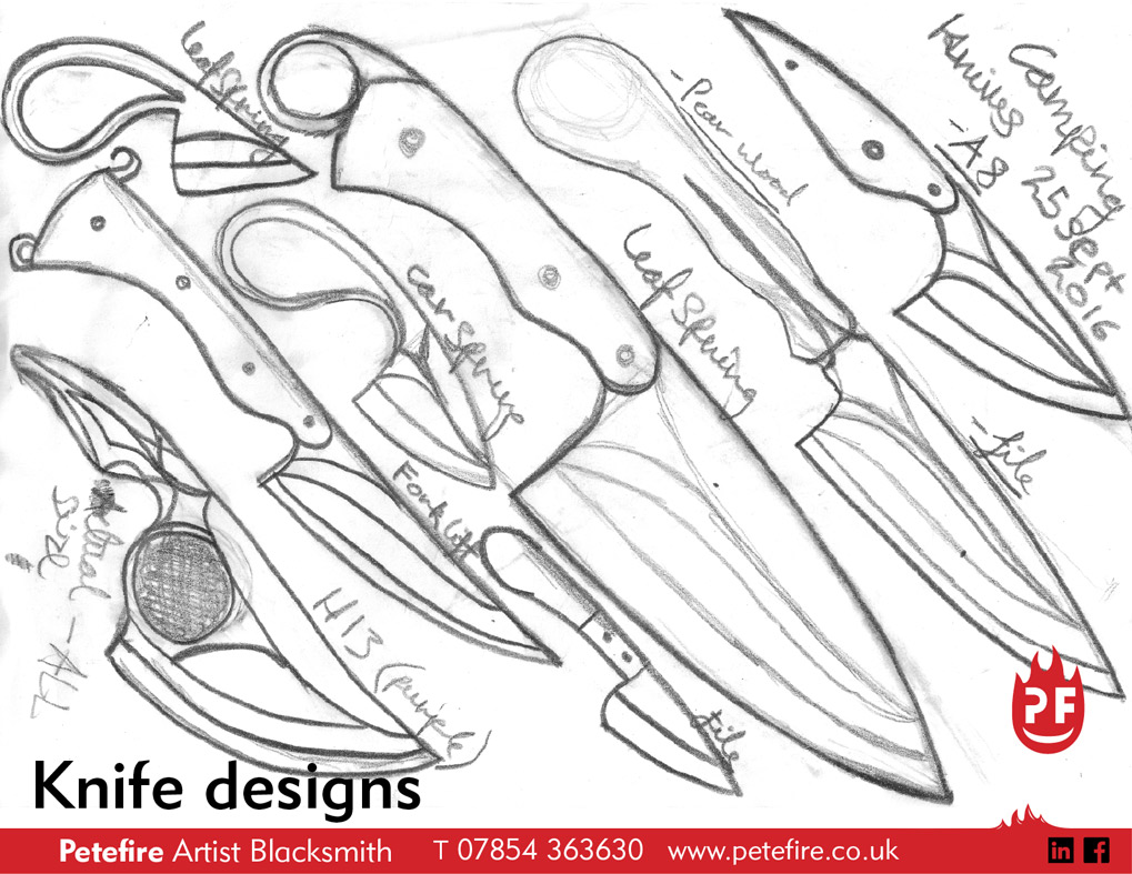I design and blacksmith forge kitchen knives, kitchen cleavers and cheese knives. Many of these are commissioned by clients.