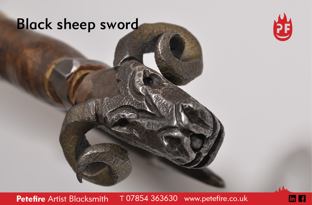 Black sheep sword, hand forged – Petefire Artist Blacksmith, Watford, Herts