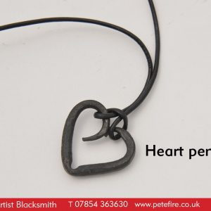 Off-Beam forged heart necklace from Petefire Artist Blacksmith
