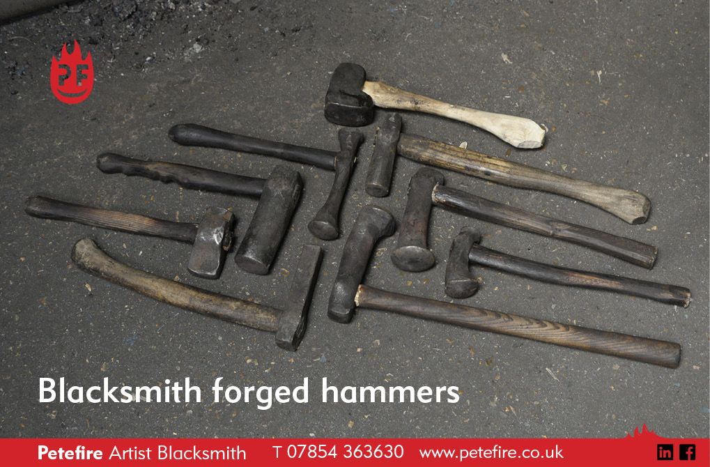 Just some of the hammers available for use on a Petefire Blacksmith Forging Experience in St Albans, Herts