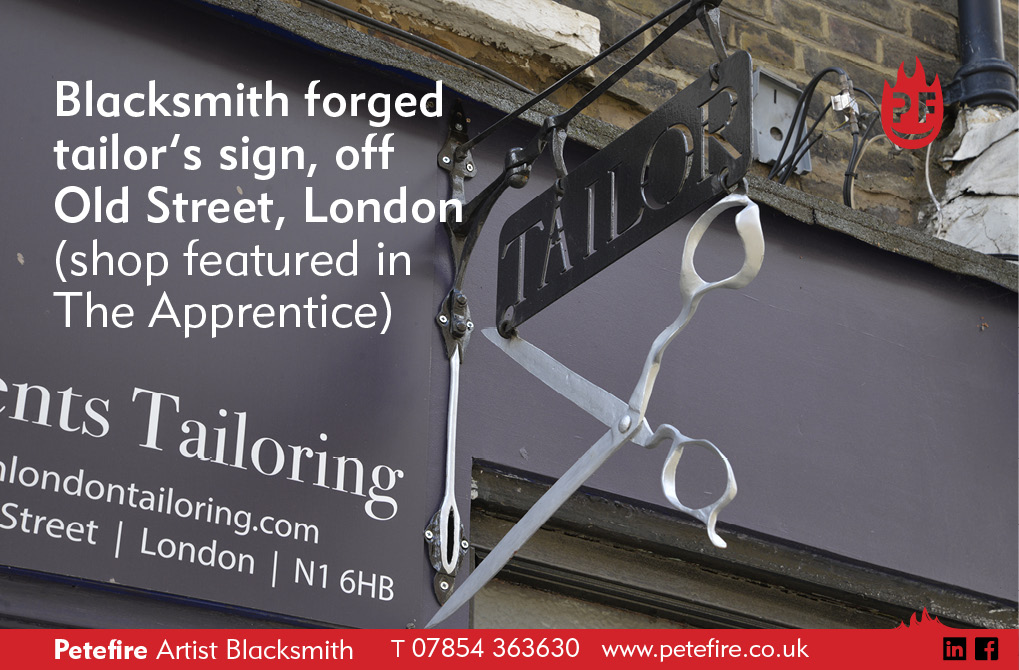 A blacksmith forged tailor's sign, off Old Street, London (shop featured in The Apprentice). Commissioned by Orhan Tailoring, London