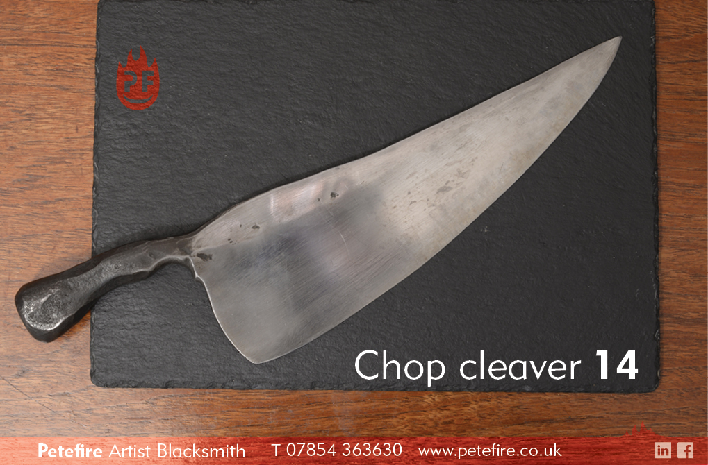 Petefire Artist Blacksmith kitchen knives: chop cleaver