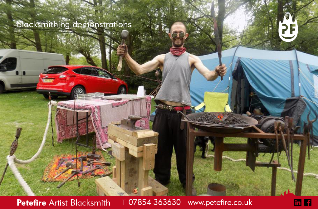 Petefire Artist Blacksmith demonstrations, exciting metalwork action