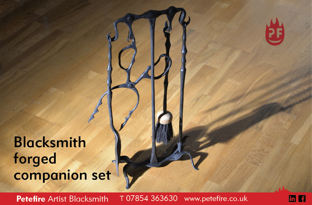 Blacksmith forged companion set, made by Petefire Artist Blacksmith in Bushey, Herts
