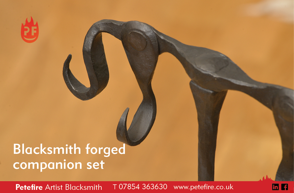 Detail from hand forged companion set stand, made in Herts, England by Petefire
