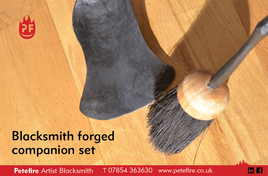 Hand forged companion set, designed & made by Petefire Artist Blacksmith in Herts, England