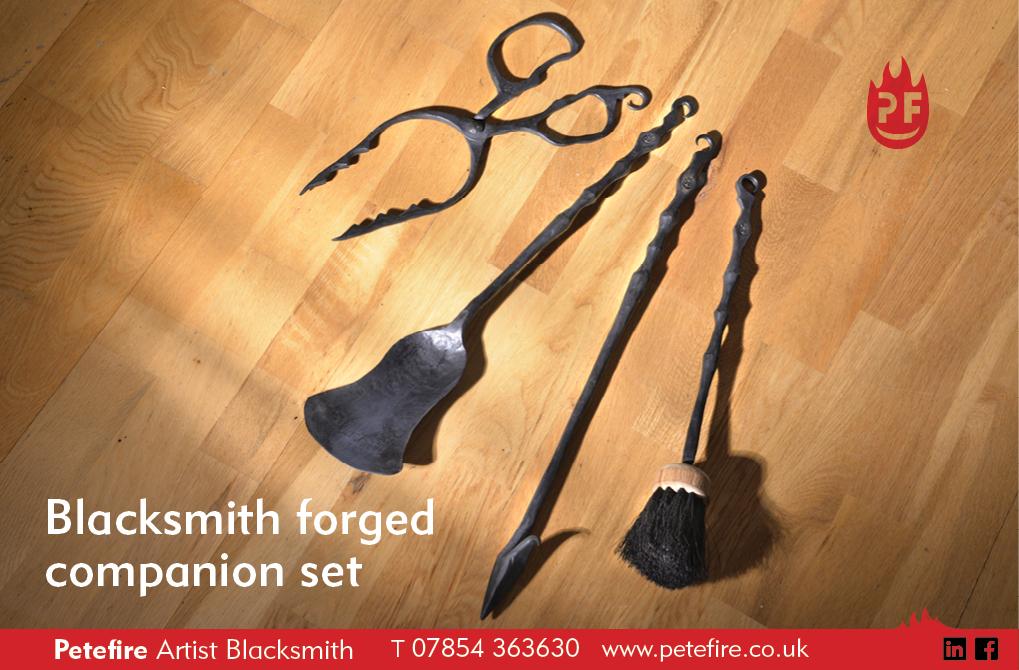 Blacksmith forged companion set, including tongs, shovel, poker & brush
