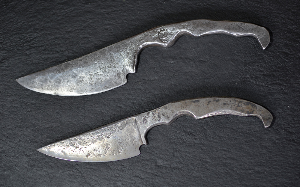 Petefire Artist Blacksmith, two forged Papa Knifes