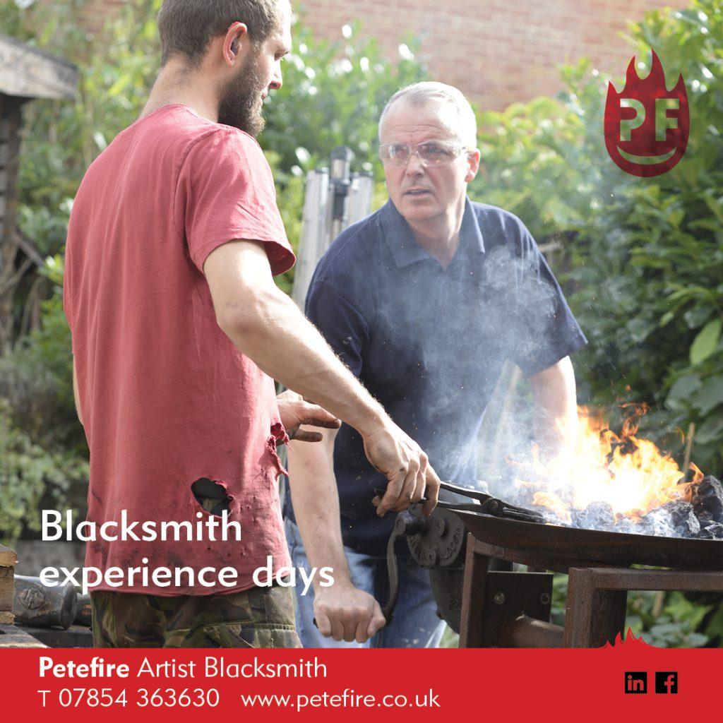 Petefire Artist Blacksmith, Blacksmith Forging Experience Days,
