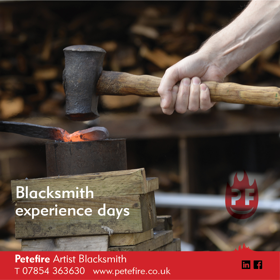 Petefire Artist Blacksmith, forging experience days in Chiswell Green, St Albans, Herts