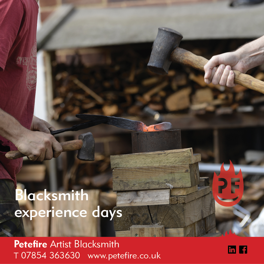 Petefire Artist Blacksmith, forging experience days