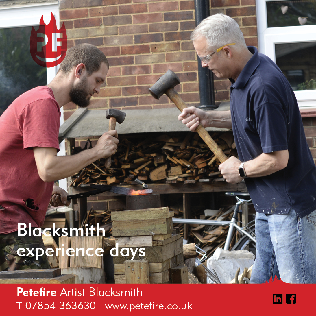 Petefire Artist Blacksmith, forging experience days, Abbots Langley, Herts