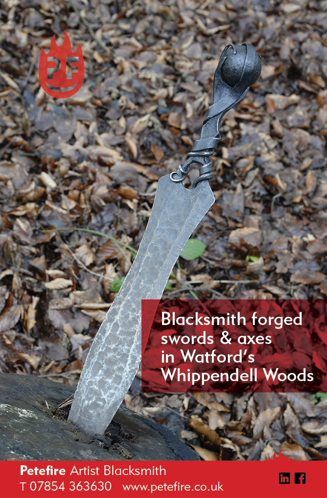 Blacksmith forged swords & axes in Watford's Whippendell Woods, Hertfordshire