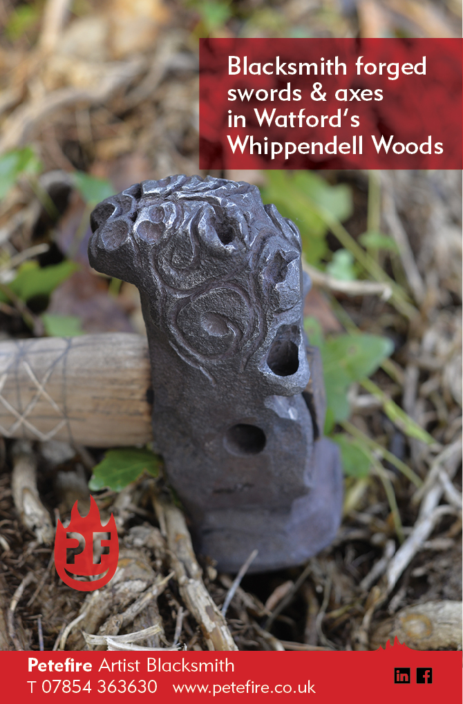 Blacksmith forged axes & hammers, Whippendell Woods, Watford, Herts