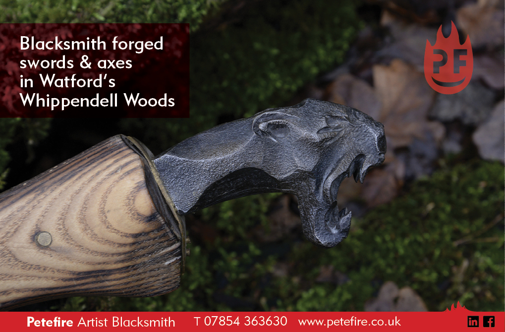 Lion headed hand forged spear, photo in Whippendell Woods, Watford, Herts