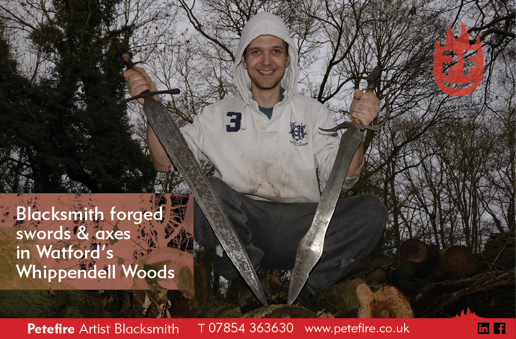 Petefire Artist Blacksmith in Whippendell Woods, Watford with hand forged swords