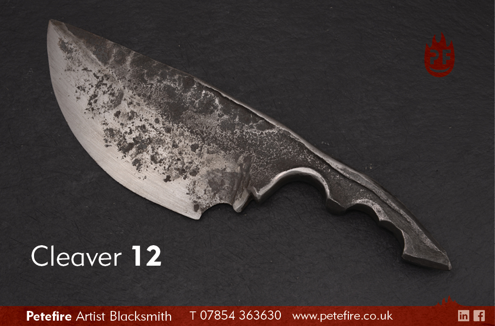 Petefire Artist Blacksmith kitchen knives: cleaver 12