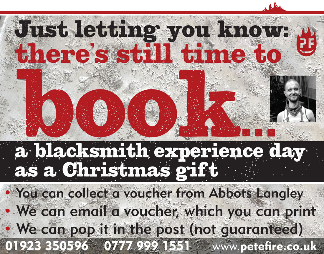 Petefire Artist Blacksmith, blacksmith experience day - Christmas gift