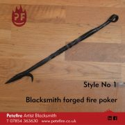 Petefire Artist Blacksmith, forged fire pokers. Style No 1