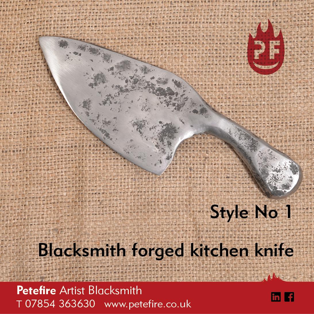 Petefire Artist Blacksmith forged kitchen knife