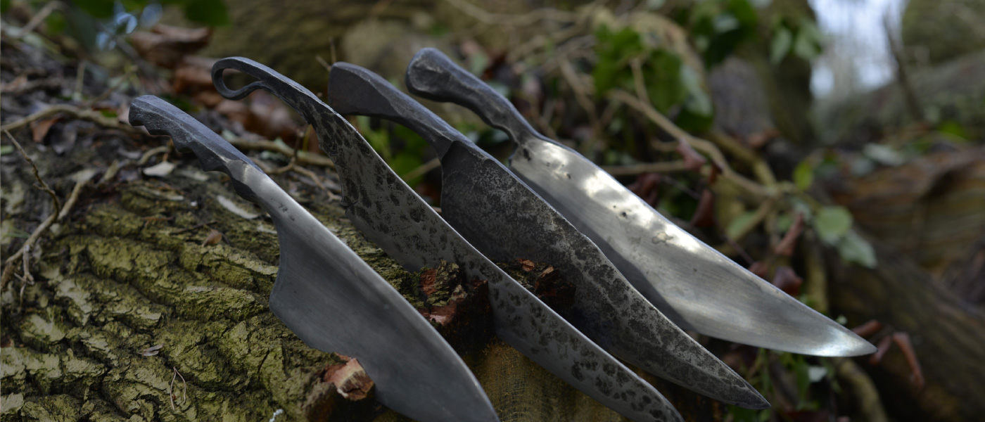 Petefire, hand forged kitchen knives. Whippendell Woods, Watford, Herts UK