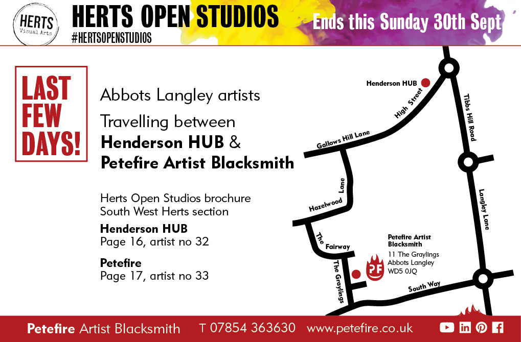 Petefire Artist Blacksmith, HertsOpenStudios Abbots Langley artists map