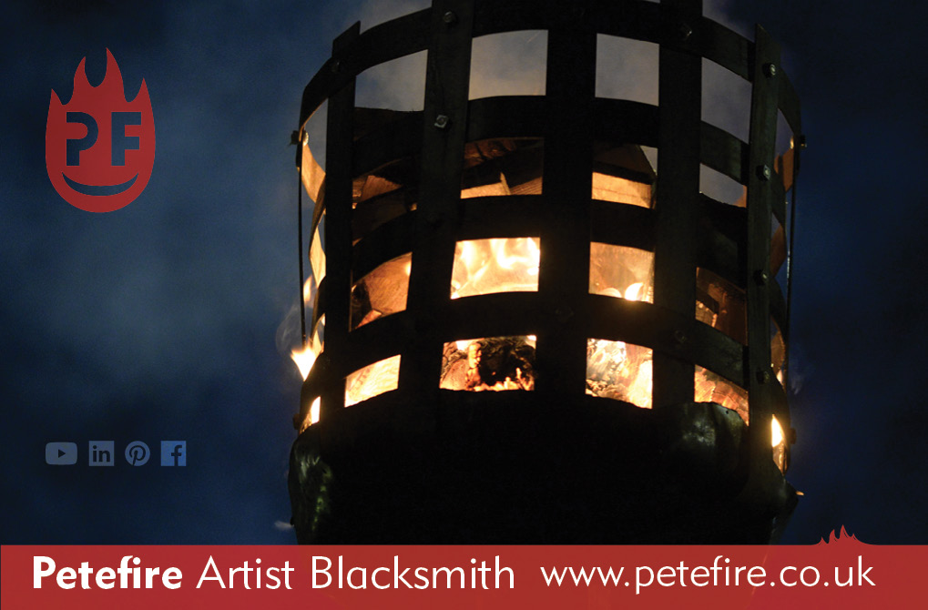 Petefire Artist Blacksmith, Watford 100th Anniversary fire beacon