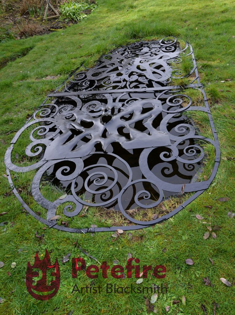Garden pond cover commission, forged by Petefire Artist Blacksmith