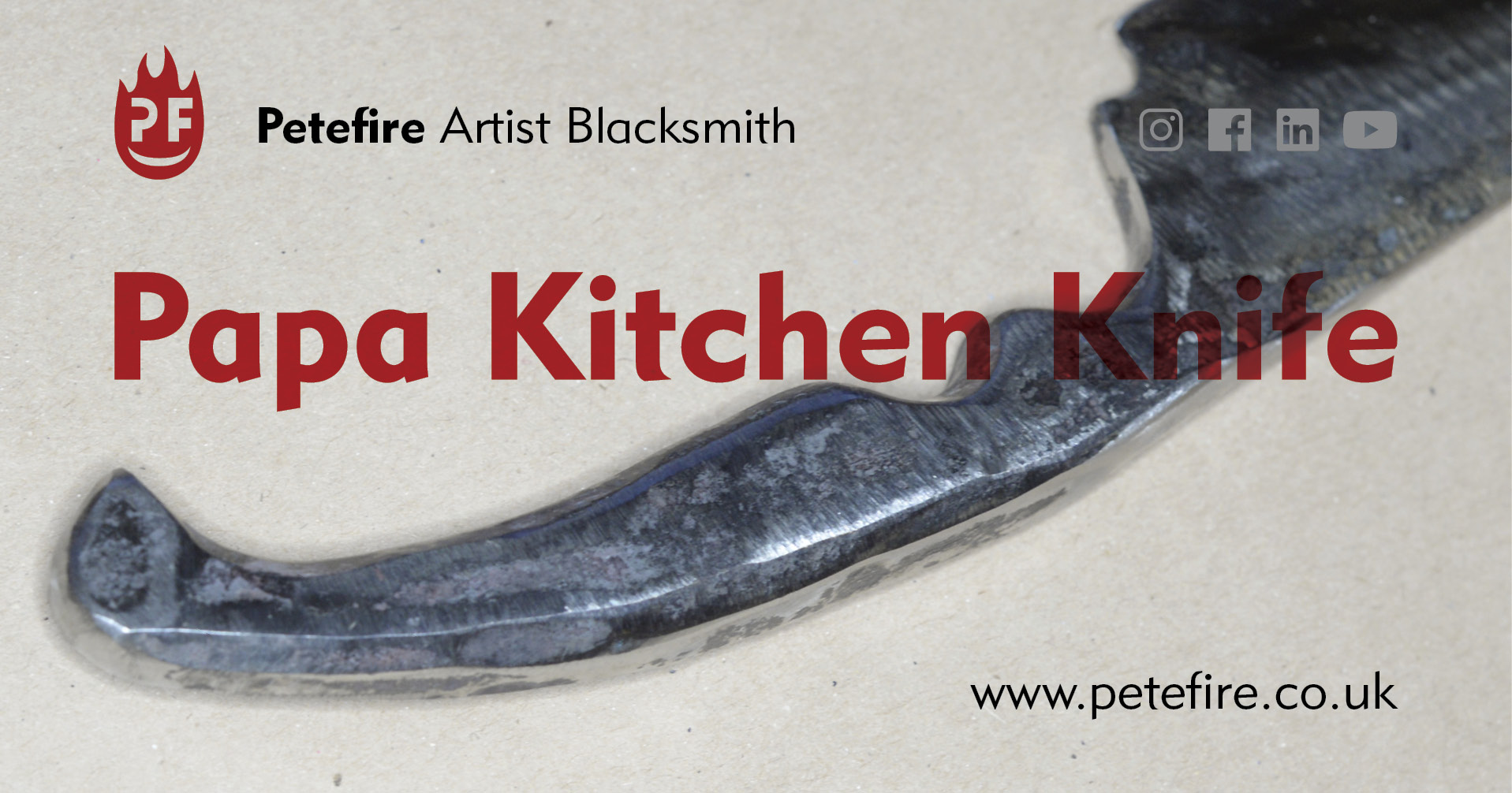 Papa hand forged kitchen knife, made in Watford, Herts by Petefire Artist Blacksmith