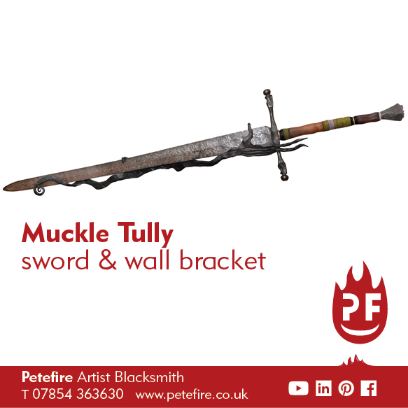 Petefire Muckle Tully hand forged sword and wall hanger