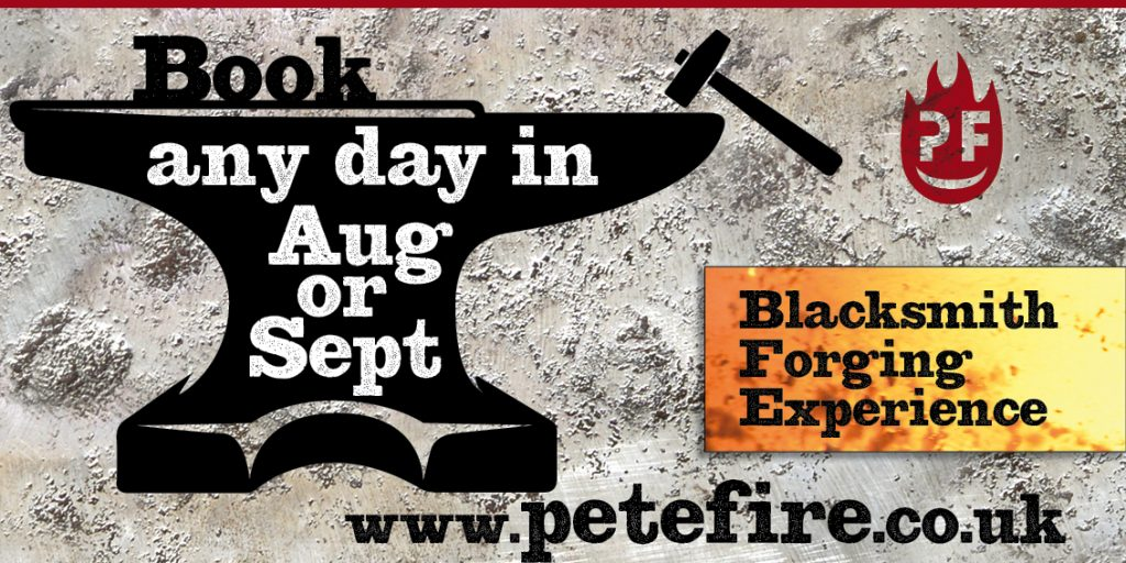 Petefire Artist Blacksmith Forging experience days in Herts