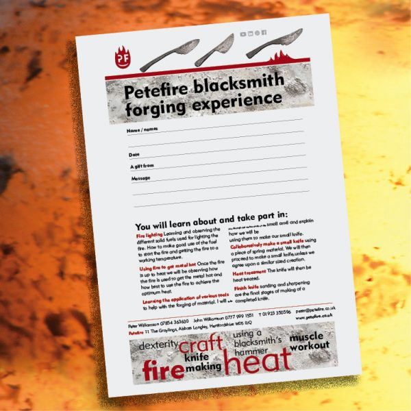 Petefire Blacksmith Forging Experience sample voucher, St Albans, Herts, England